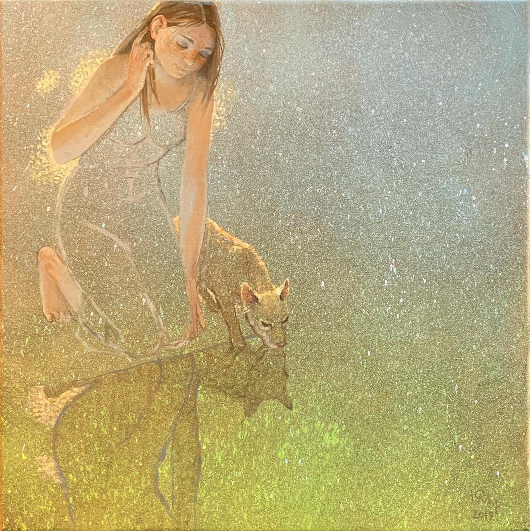 Julia Mordvinova Gilje: Mirror Olje, akryl (50x50 cm) kr 5000 ur