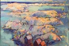 Arne Kleng Dahle Ved havet Akrylmaleri (80x80 cm) kr 11000