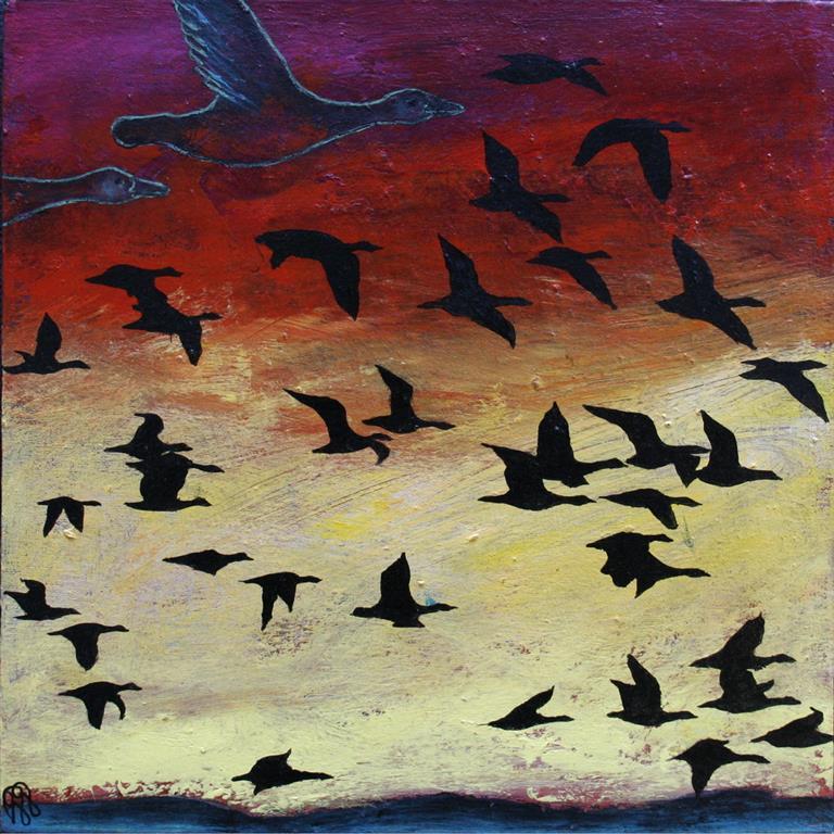 Fugletrekk II Akrylmaleri 40x40 cm 2000 ur