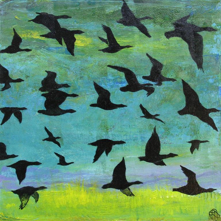 Fugletrekk III Akrylmaleri 40x40 cm 2000 ur