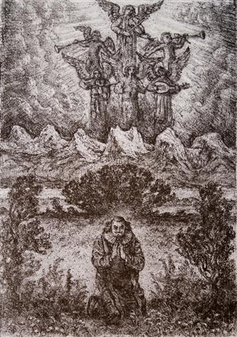 En smuk aftensang Litografi 36x25 cm 3000,-kr u.r.