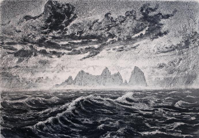Havlys Litografi 43x61 cm 5000,-kr u.r.
