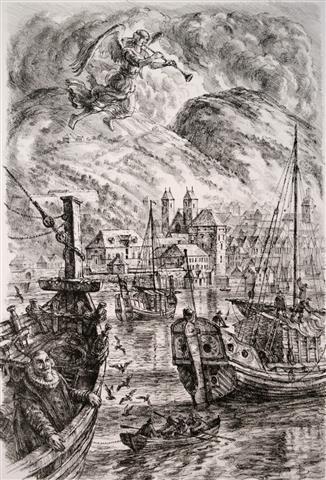 Innseiling, Bergen Litografi 39x27 cm 3000,-kr u.r.