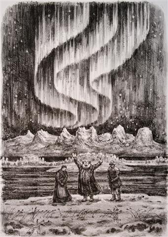 Nordlandsbeskrivelse Litografi 37x27 cm 3000,-kr u.r.