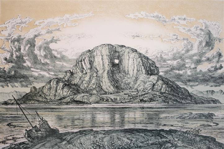 Torghatten Litografi 47x70 cm 6500,-kr u.r.