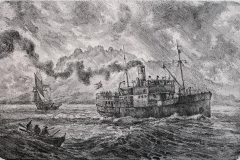 D.S Boeroeysund Litografi 31,5x48,5 cm 4500,-kr u.r.