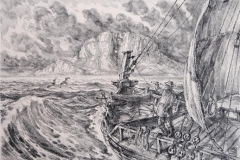 Jekt ved Torghatten Litografi 28,5x40,5 cm 4000,-kr u.r.