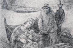 Juleevangeliet i nord Litografi 42,5x27 cm 3500,-kr u.r.