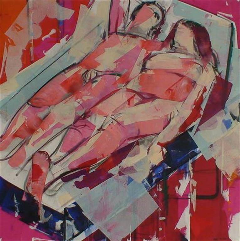 Mann og kvinne II Akrylmaleri (100x100 cm) kr 15000