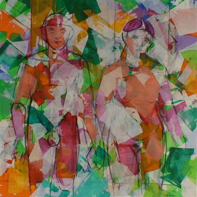 Mann og kvinne i skogen Akrylmaleri (100x100 cm) kr 15000 ur