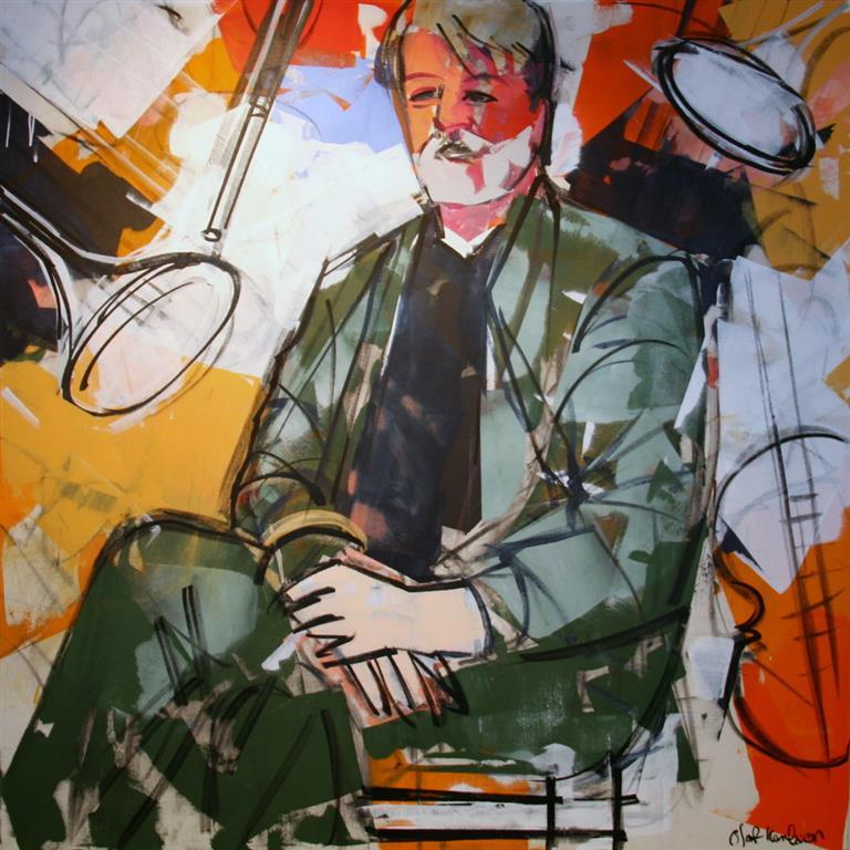 Musiker Akrylmaleri (100x100 cm) kr 13500 ur