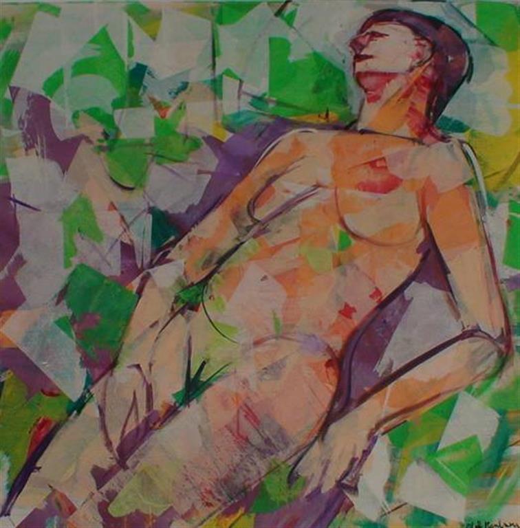 Soling på stranden Akrylmaleri (80x80 cm) kr 10000 ur