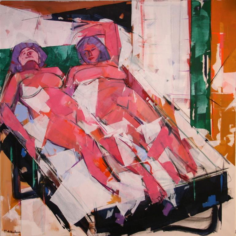 To kvinner Akrylmaleri (100x100 cm) kr 13500 ur