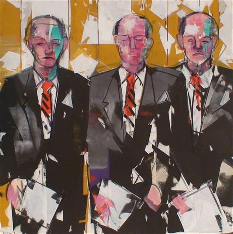 Tre teknokrater Akrylmaleri (100x100 cm) kr 13500 ur