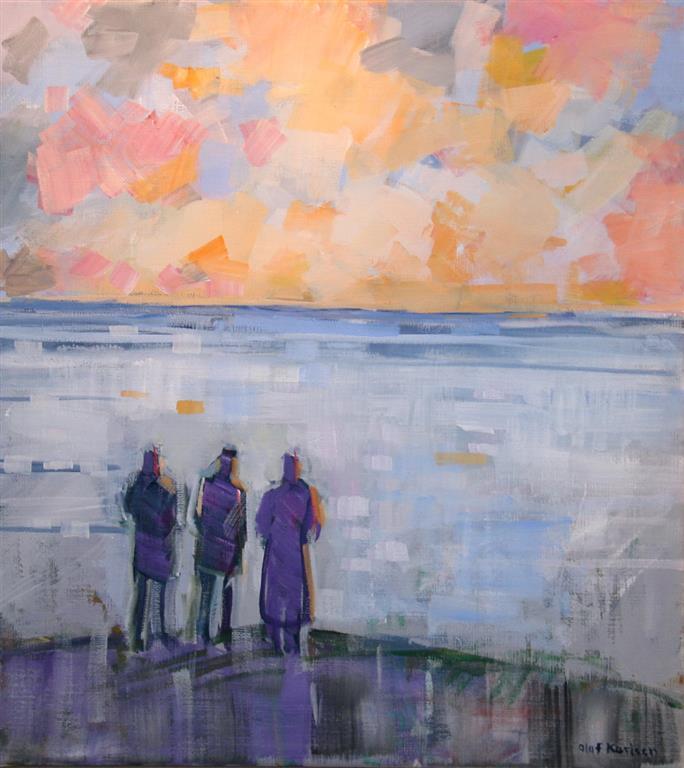 Vinterdag ved havet Akrylmaleri (60x35 cm) kr 6000 mr