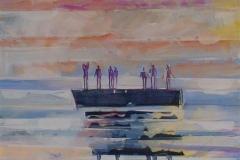 Flåten Akrylmaleri (100x100 cm) kr 15000 ur