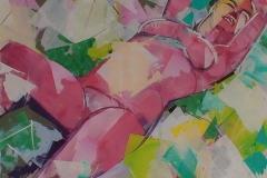 Solbad Akrylmaleri (100x100 cm) kr 15000 ur