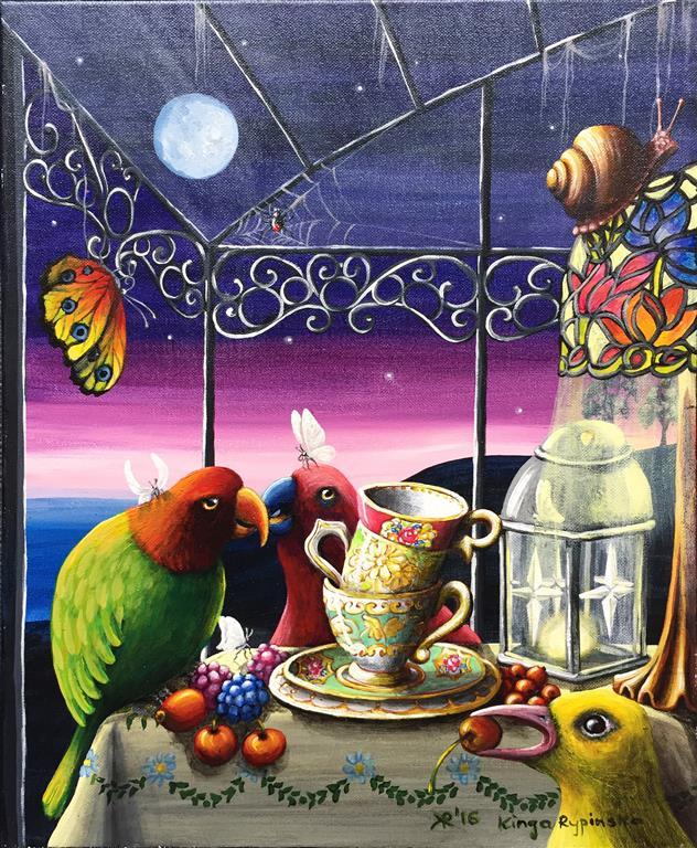 Kvelds prat Akrylmaleri (46x38 cm) kr 3500 ur