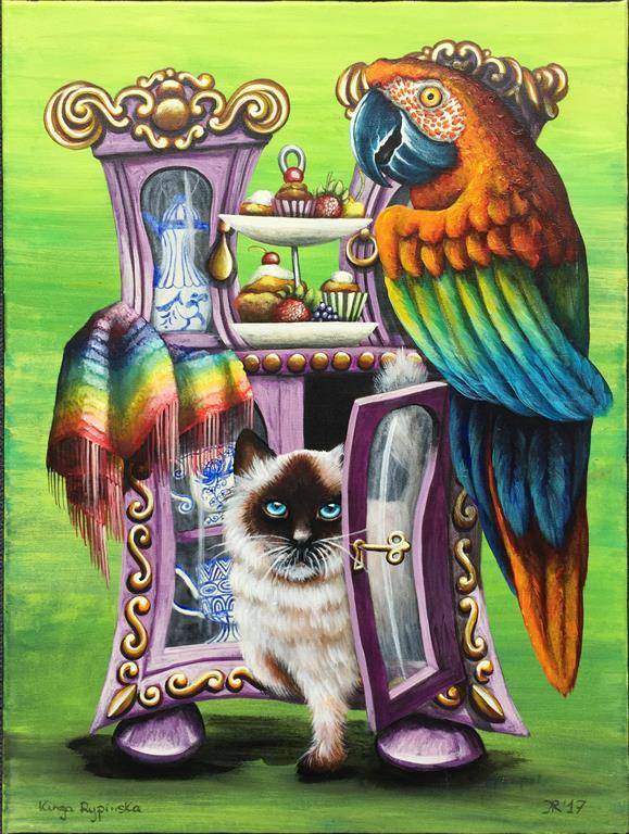Ut av skapet Akrylmaleri (61x45,5 cm) kr 7500 ur