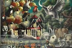 Midnight swamp Akrylmaleri (60x75 cm) kr 12000 ur