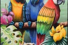 Papugi i kotek Akrylmaleri (50x40 cm) kr 4000 ur