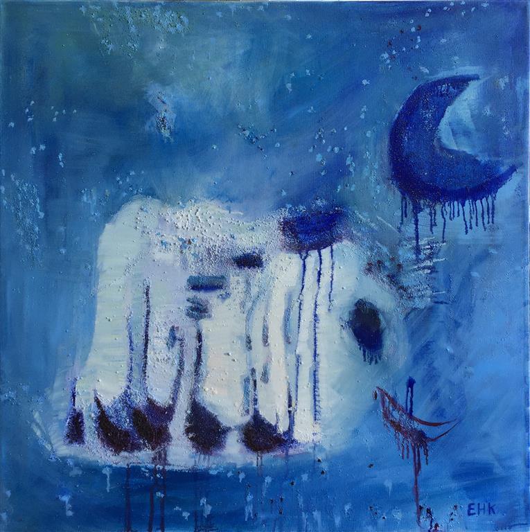 Blue moon Oljemaleri (70x70 cm) kr 9000 ur
