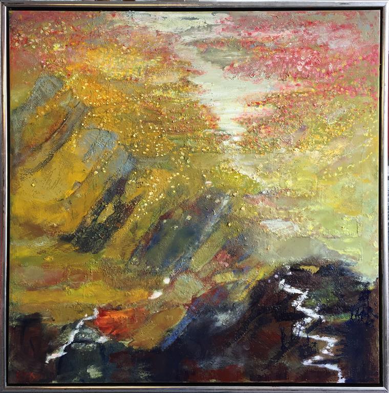 Blandt fjell og li og fjord Oljemaleri (80x80 cm) kr 12000 mr