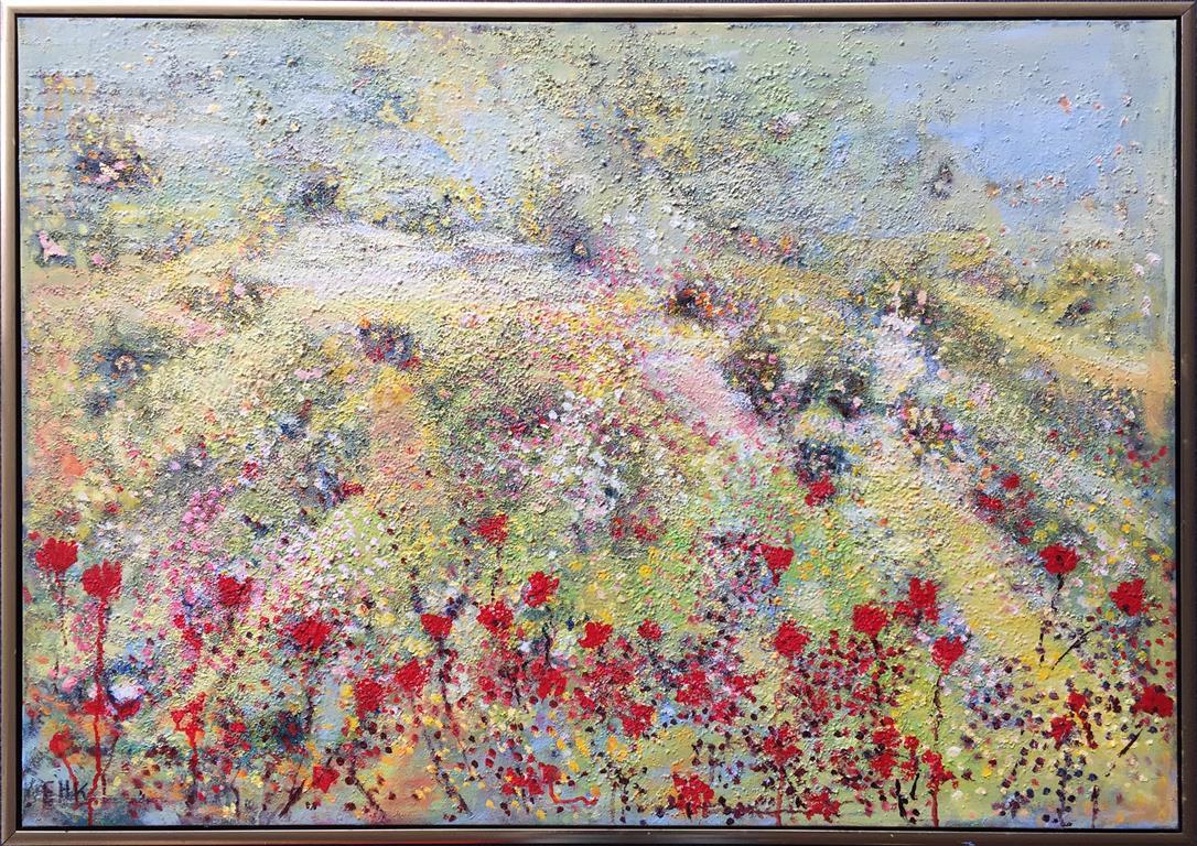 Feerne i blomsterhaven Oljemaleri med bladgull (70x100 cm) kr 18000 mr