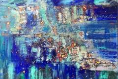Mellem himlen og havet Oljemaleri med bladgull (80x100 cm) kr 15000 ur