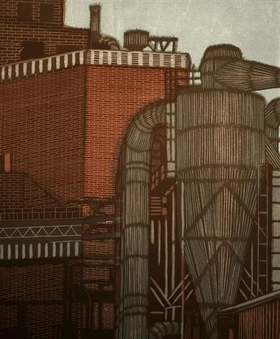 Fabriken V Tresnitt 46x38 cm 2500,-kr u.r.