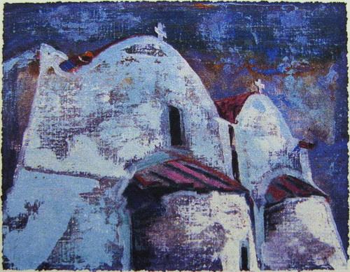 Gresk kirke Serigrafi 13,5x17cm 800,-kr u.r.