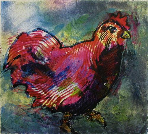 Rund høne Serigrafi 22,5x24,5cm 1600,-kr u.r.