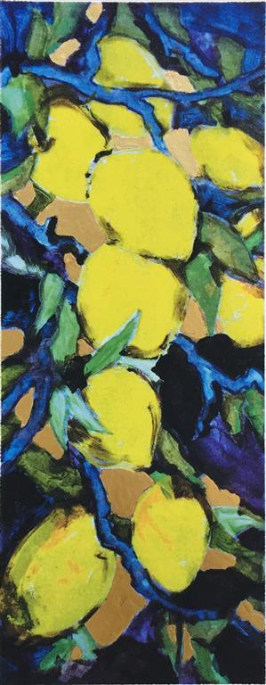 Sitroner Serigrafi med bladgull (57x22 cm) kr 2200 ur