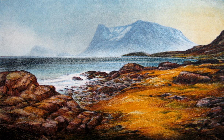Blå kyst LItografi (27x44 cm) kr 2800 ur