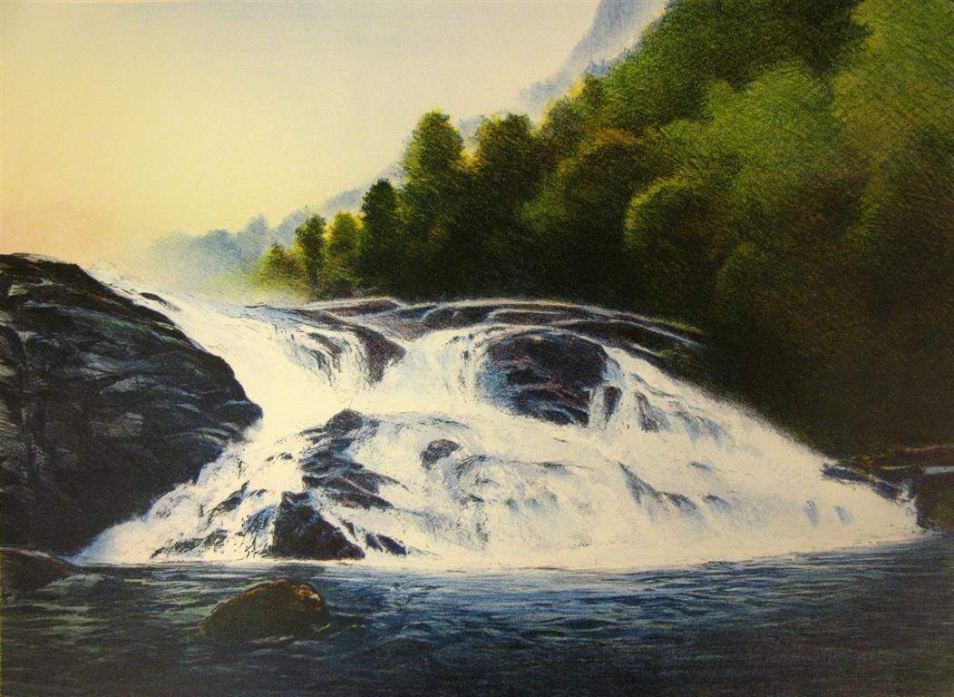 Foss i Hardanger Litografi 44x60 cm 4200 ur