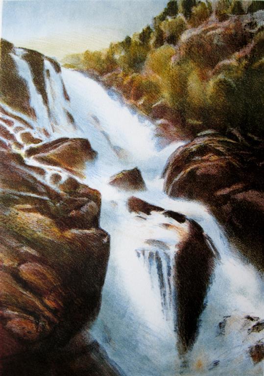 Hattebergfossen Litografi (42x29 cm) kr 2800 ur