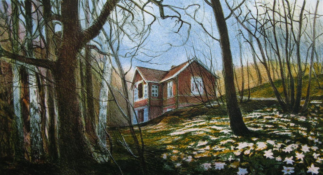 Huset i hvitveisskogen Litografi 21x40 cm 1500 ur