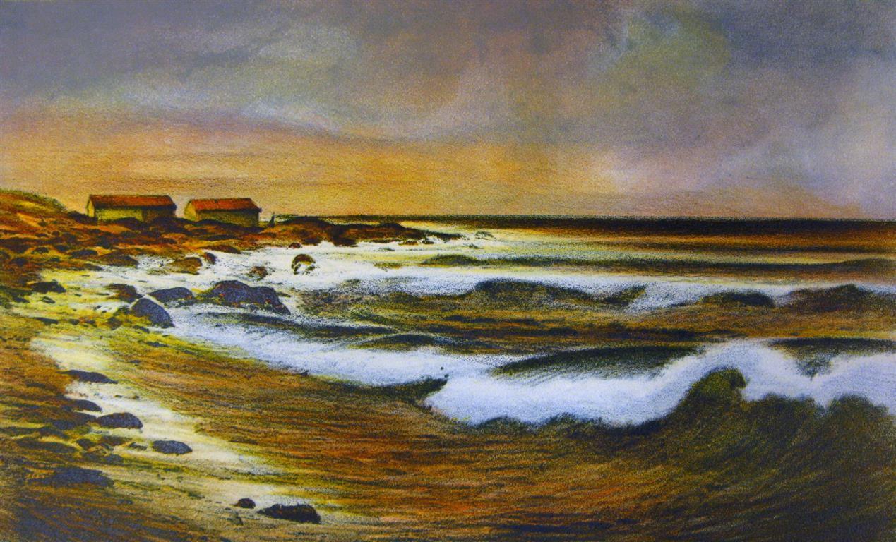 Strand ved Ogna Litografi (27x45 cm) kr 2800 ur
