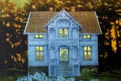 I fjord sommer Litografi 30x23 cm solgt