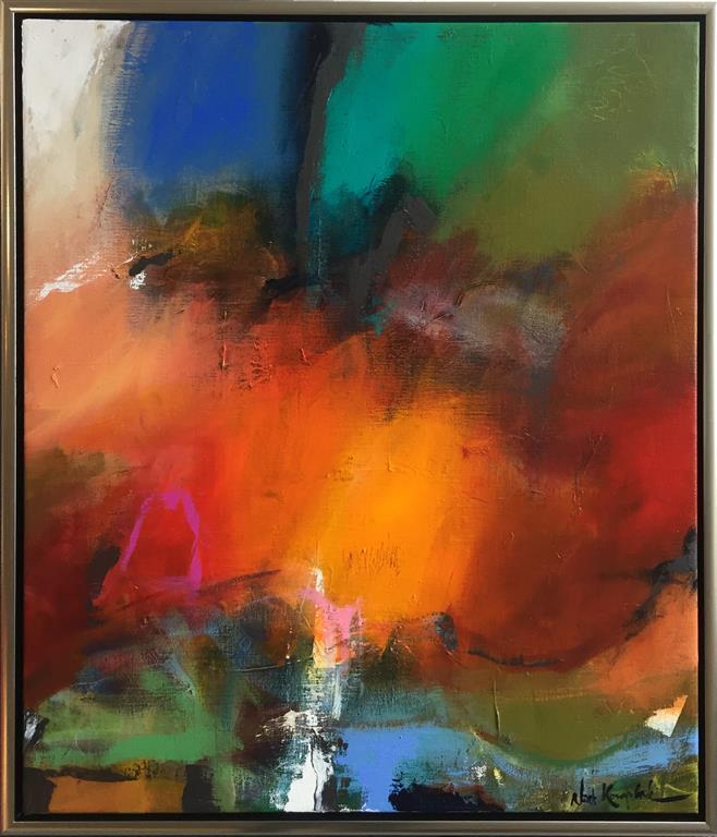 Varmere himmelstrøg Akrylmaleri (70x60 cm) kr 7000 mr