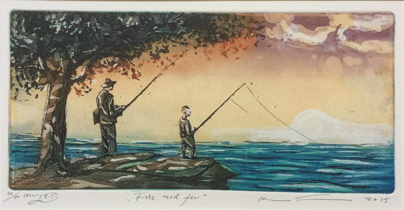 Fiske med far Etsning (15x30 cm) kr 1500 ur
