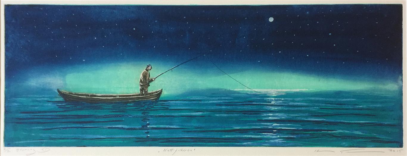 Nattfiskeren Etsning (25x70 cm) kr 3100 ur