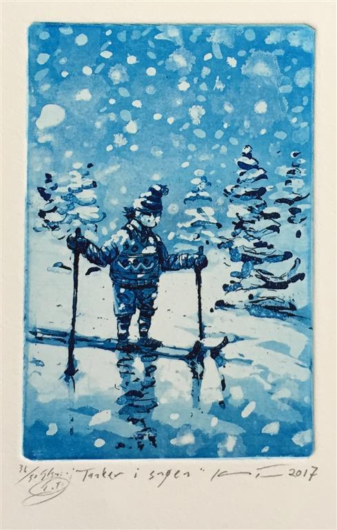 Tanker i snøen Etsning (15x10 cm) kr 900 ur