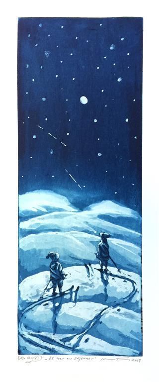 Et hav av stjerner Etsning (40x15 cm) kr 1800 ur
