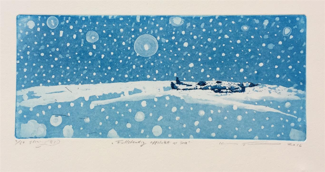 Fullstendig oppslukt av snø Etsning (15x34 cm) kr 1600 ur