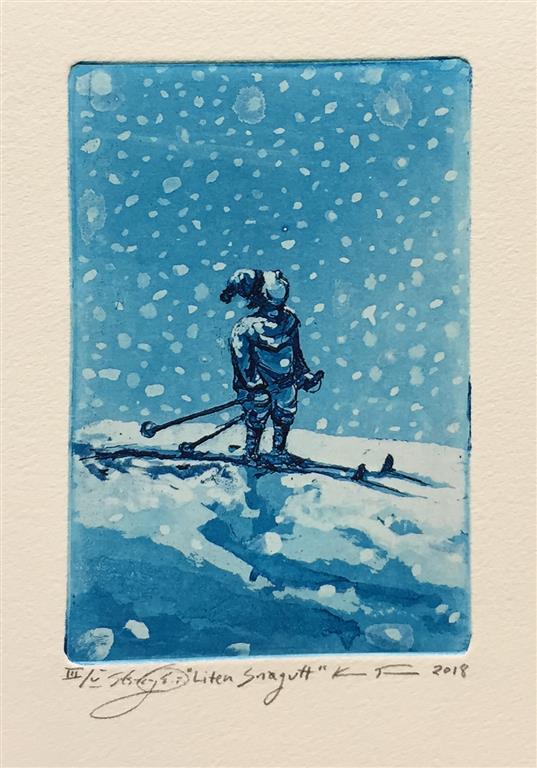 Liten snøgutt Etsning (15x10 cm) kr 900 ur