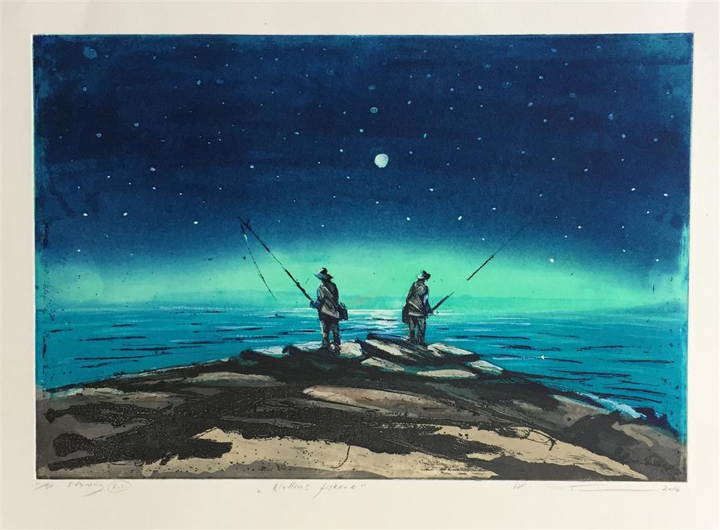 Nattens fiskere Etsning (34x50 cm) kr 3100 ur