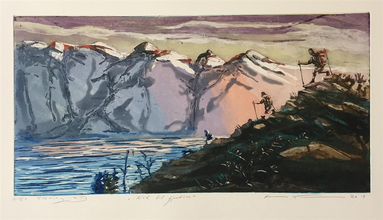 Ned til fjorden Etsning (25x50 cm) kr 2800 ur