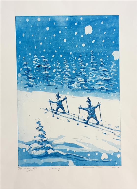 Snøengler Etsning (43x30 cm) kr 2200 ur