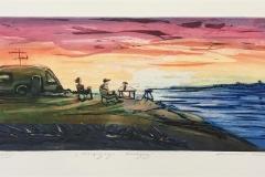 Campingvogn i solnedgang Etsning (20x50 cm) kr 2500 ur
